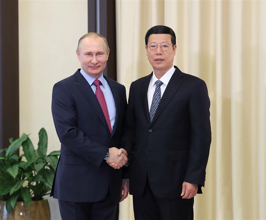 Chinese Vice Premier Zhang Gaoli (R) meets with Russian President Vladimir Putin in Moscow, Russia, April 13, 2017. (Xinhua/Wang Ye)