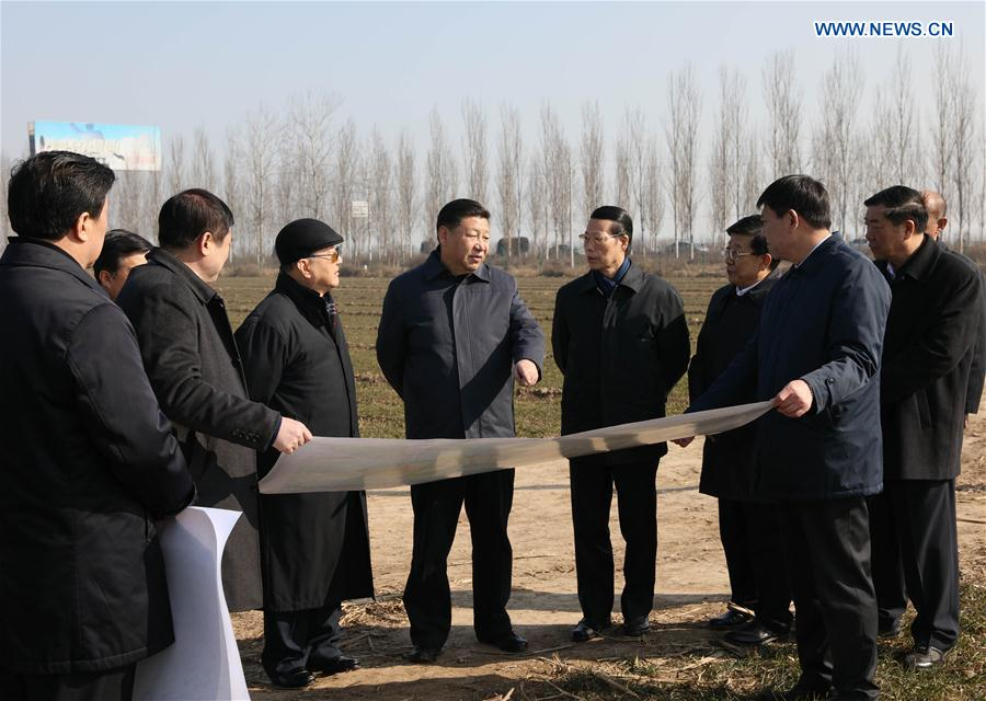 Chinese President Xi Jinping(C) inspects the Xiongan New Area scheme in Anxin County of Baoding City, north China