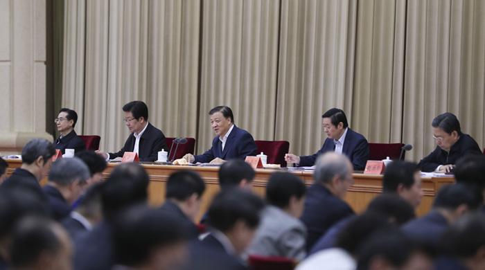 """4月16日,推进""""两学一做""""学习教育常态化制度化工作座谈会在北京召开。中共中央政治局常委、中央书记处书记刘云山在座谈会上发表讲话。"""