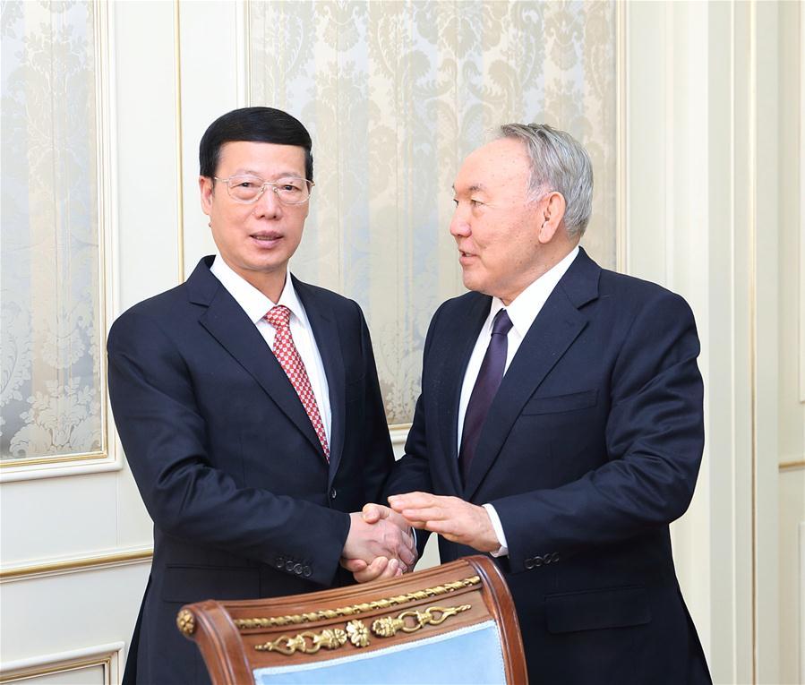 Chinese Vice Premier Zhang Gaoli meets with Kazakh President Nursultan Nazarbayev in Astana, Kazakhstan, April 18, 2017. (Xinhua/Wang Ye)