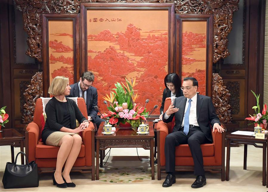 Chinese Premier Li Keqiang (R) meets with Federica Mogherini, EU high representative for foreign affairs and security policy, as well as vice president of the European Commission, in Beijing, capital of China, April 18, 2017. (Xinhua/Zhang Duo)