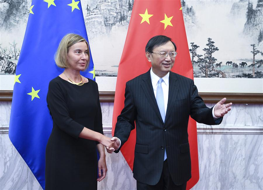 Chinese State Councilor Yang Jiechi co-chairs the seventh China-EU high-level strategic dialogue with EU high representative for foreign affairs and vice president of the European Commission Federica Mogherini in Beijing, China, April 19, 2017. (Xinhua/Zhang Ling)