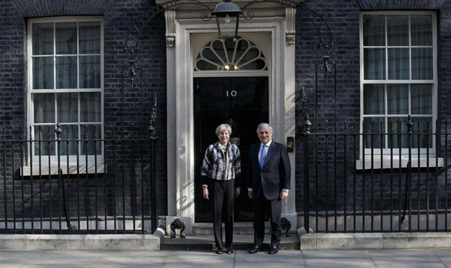 British Prime Minister Theresa May (L) meets with President of the European Parliament Antonio Tajani at 10 Downing Street in London, Britain on April 20, 2017. (Xinhua/Tim Ireland)