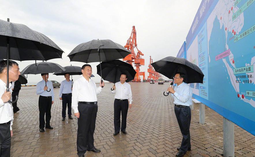 President Xi Jinping visits the Tieshangang Yard in Beihai, South China