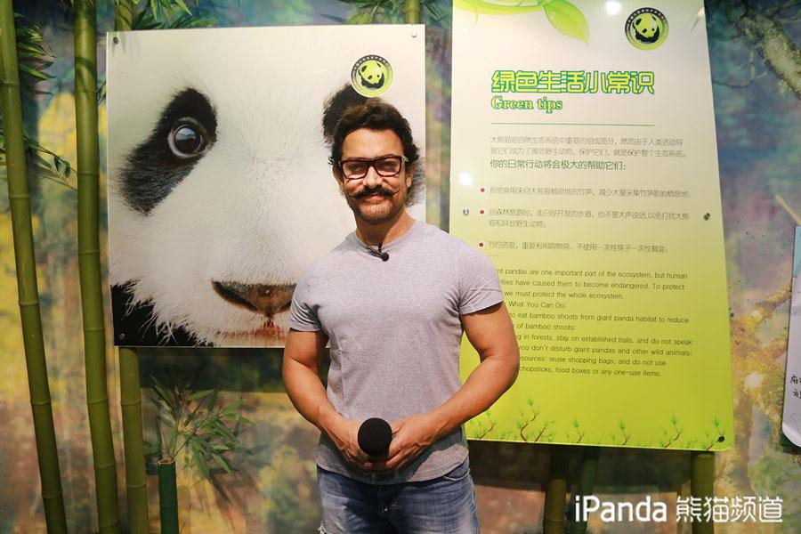 阿米尔•汗了解熊猫保护知识后留念