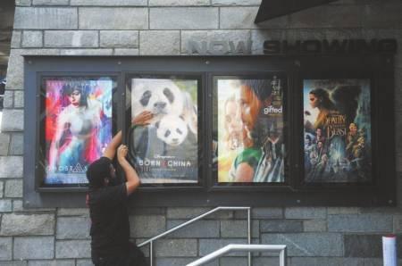 AMC影院的工作人员费莱迪将影片《我们诞生在中国》电影海报挂在展示栏中