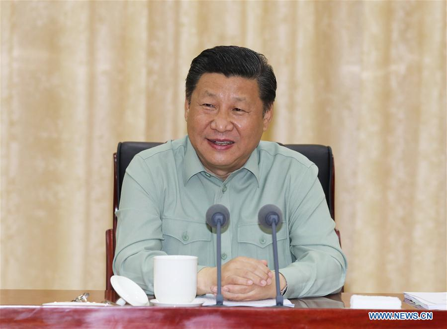 Chinese President Xi Jinping, who is also general secretary of the Communist Party of China (CPC) Central Committee and chairman of the Central Military Commission (CMC), speaks at a meeting during an inspection of the Southern Theater Command of the People