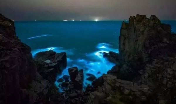 """The natural phenomenon, known as """"blue tears"""", attracts tens of thousands of people to the beach in Mazu."""