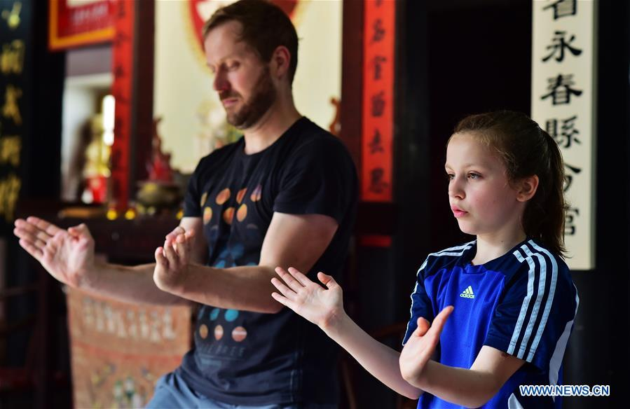 Niewerth Luise and her father pracitce at Wenggongci martial art club in Yongchun, East China