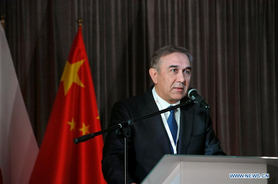 Grzegorz Czelej, deputy marshal of the Polish Senate and chairman of the Polish-Chinese Parliamentary Group, addresses the Polish-Chinese international conference in Opole, southwest Poland, on April 25, 2017. China