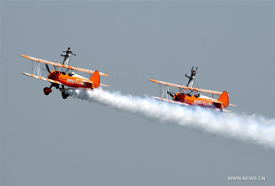 The Breitling Wingwalkers perform at the Airshow Zhengzhou 2017 in Zhengzhou, capital of central China
