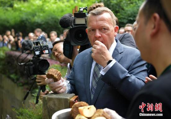 """丹麦首相拉斯穆森来到成都大熊猫繁育研究基地看大熊猫,并""""品尝""""熊猫窝窝头"""