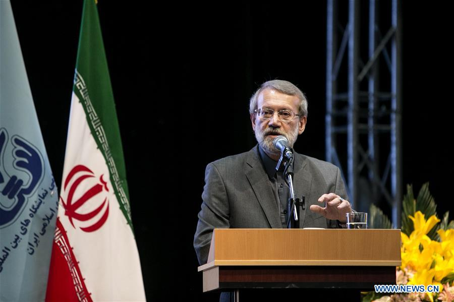 Iranian Parliament Speaker Ali Larijani speaks during the opening ceremony of the 22nd Iran International Oil, Gas, Refining and Petrochemical Exhibition in Tehran, Iran, May 6, 2017. Iran kicked off a major energy exhibition in the capital Tehran on Saturday with the participation of 1,500 foreign companies. (Xinhua/Ahmad Halabisaz)