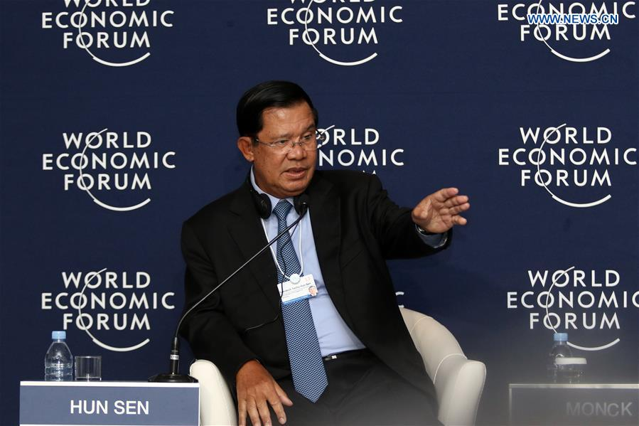 Cambodian Prime Minister Samdech Techo Hun Sen gestures during a press conference at the World Economic Forum on ASEAN in Phnom Penh, Cambodia, on May 11, 2017. Samdech Techo Hun Sen said on Thursday that the China-proposed Belt and Road Initiative gives hope to developing countries in their infrastructure development. (Xinhua/Sovannara)