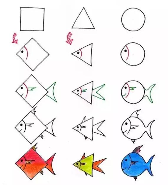 只用正方形,三角形和圆形就能轻松画画