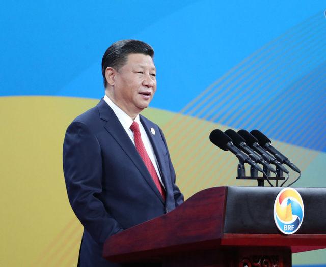 """5月14日,国家主席习近平在北京出席""""一带一路""""国际合作高峰论坛开幕式,并发表题为《携手推进""""一带一路""""建设》的主旨演讲。新华社记者 马占成 摄"""