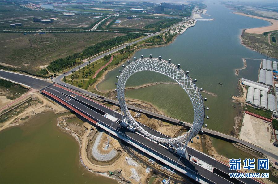 The single-tower cable-stayed bridge is 225 meters long. The
