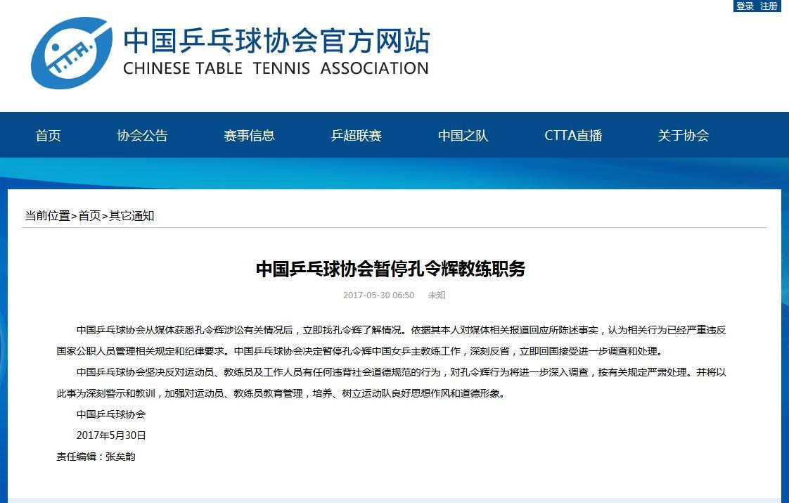 中国乒乓球协:暂停孔令辉职务教练立即回国热气球小论文图片