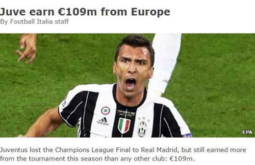 无缘冠军?尤文欧冠收入冠绝全欧 1.09亿创纪录