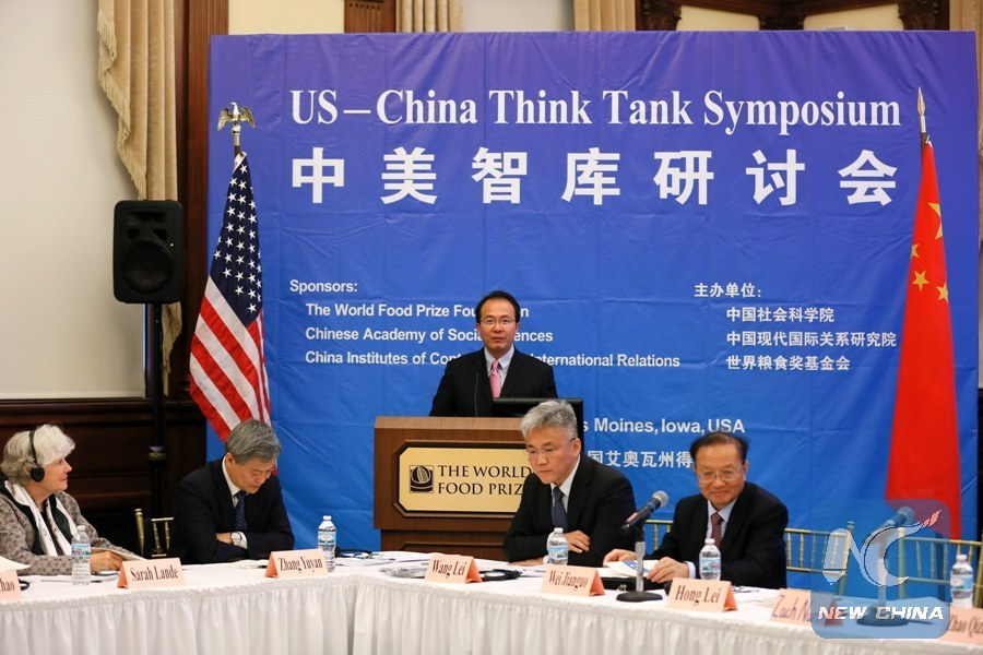 Chinese Consul General in Chicago Hong Lei addresses the U.S.-China Think Tank Symposium in Des Moines,Iowa, the United States, June 12, 2017.(Xinhua/Wang Ping)