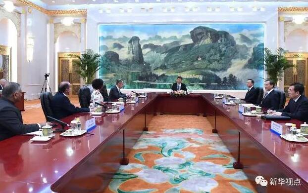 2017年6月19日,国家主席习近平集体会见金砖国家外长会晤外方代表团团长。新华社记者饶爱民摄