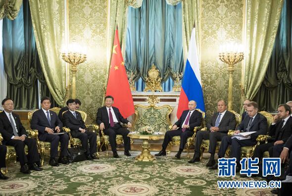 7月4日,国家主席习近平在莫斯科克里姆林宫同俄罗斯总统普京举行会谈。
