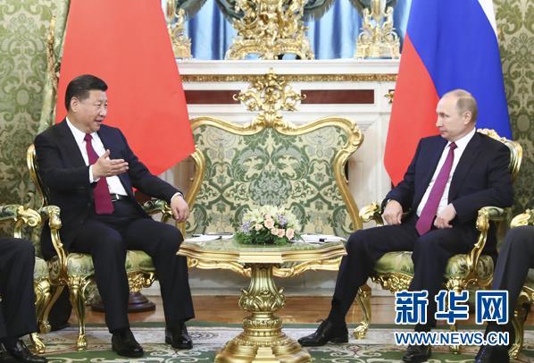 7月4日,国家主席习近平在莫斯科克里姆林宫同俄罗斯总统普京举行会谈。 新华社记者 谢环驰 摄