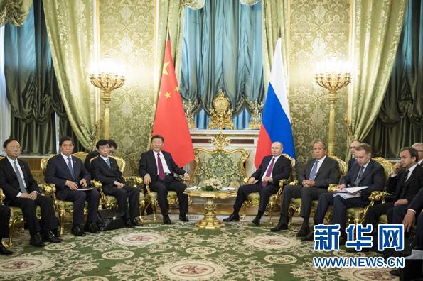 7月4日,国家主席习近平在莫斯科克里姆林宫同俄罗斯总统普京举行会谈。 新华社记者 李学仁 摄
