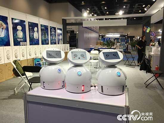 Photo shows housekeeping robots ROBOTLED being exhibited at 3E Beijing International Service Robot Exhibition 2017 on July 8.