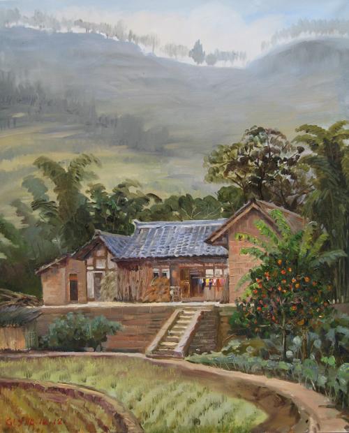 为家乡山水画历史——葛燎原油画风景作品欣赏
