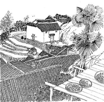 中国山水线描画