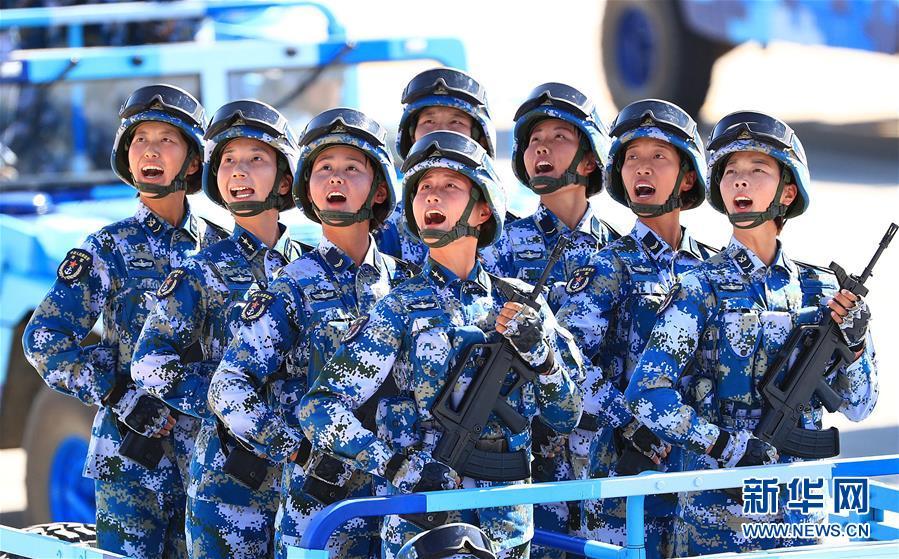 海军陆战队方阵  (图片来源:新华网)