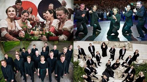 罗密欧与朱丽叶合唱团(左上),b vocal(右上),瑞典斯万霍姆男声合唱团(左下)和丹麦国家合唱团(右下)