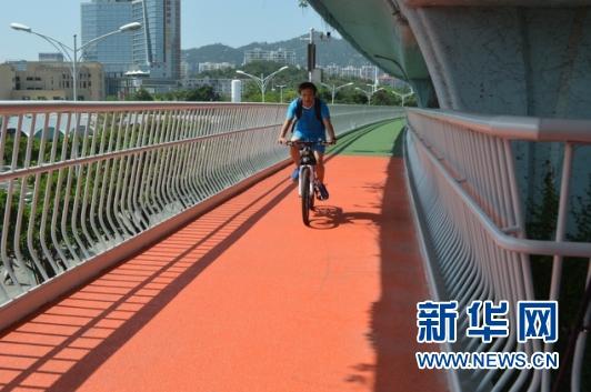 8月4日,市民在厦门市空中自行车道上骑行。