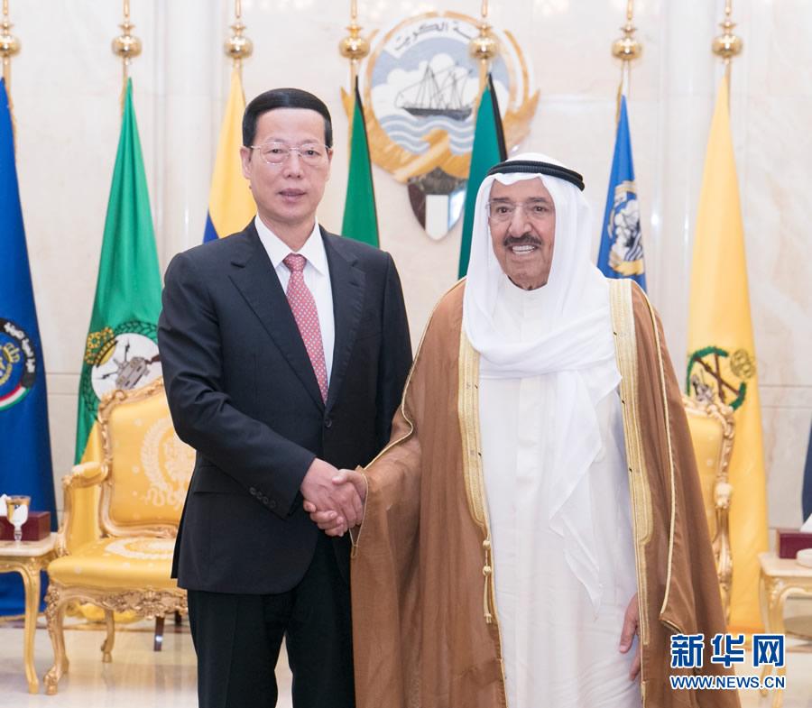 8月22日,应邀访问科威特的中共中央政治局常委、国务院副总理张高丽在科威特城会见科威特埃米尔萨巴赫。 新华社记者 王晔 摄