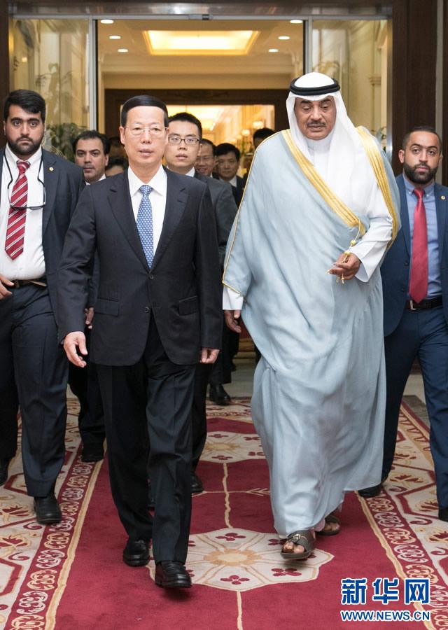 8月22日,应邀访问科威特的中共中央政治局常委、国务院副总理张高丽在科威特城会见科威特第一副首相兼外交大臣萨巴赫。 新华社记者 高洁摄