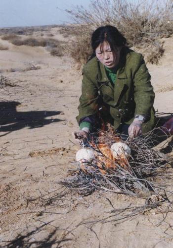 殷玉珍在沙漠上种树艰难