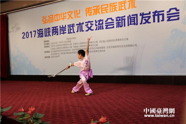 西城体校武术队小队员舞剑表演。(中国台湾网 赵苗青 摄)
