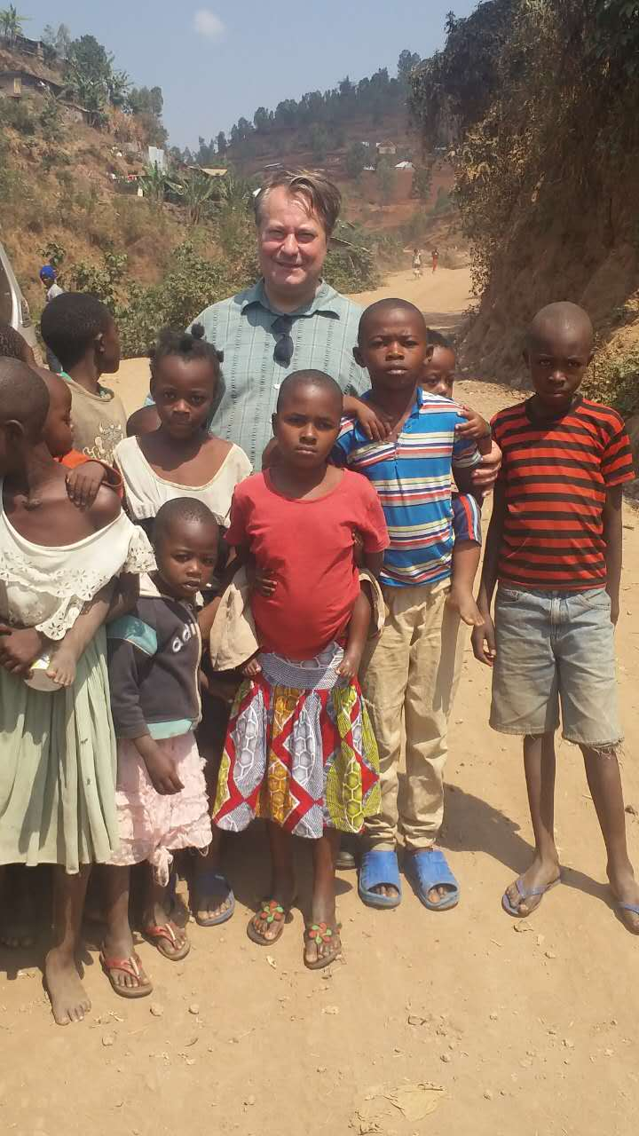 With children in the poor neighbourhoods of Eastern Congo.