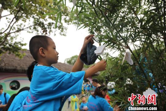"""两棵2米高由竹子成为""""祝福树"""",上面挂满了小卡片,那是众多喜欢""""月月、半半""""的人们送来的祝福。(倪丽 摄)"""