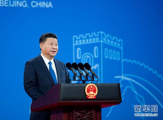 9月26日,国家主席习近平在北京国家会议中心出席国际刑警组织第86届全体大会开幕式并发表题为《坚持合作创新法治共赢 携手开展全球安全治理》的主旨演讲。 新华社记者 李学仁 摄