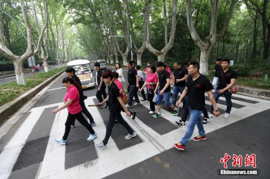 资料图:行人在南京中山陵园风景区内的道路上过斑马线。中新社发 泱波 摄