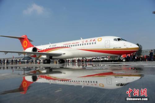 中国首架喷气式支线客机——ARJ21飞机。资料图。张浪 摄