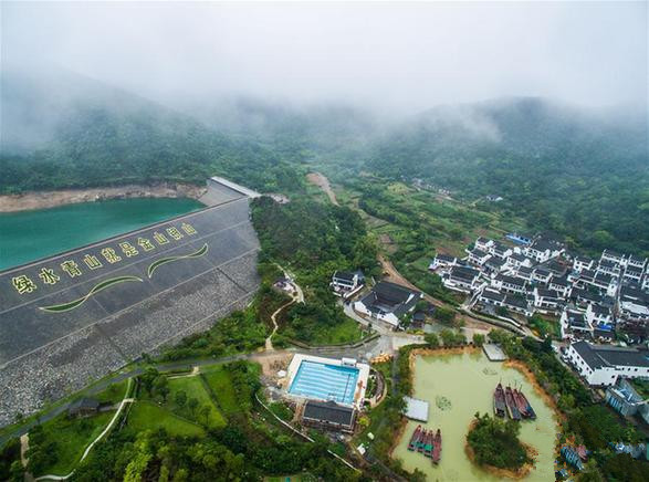 空中俯瞰浙江省舟山市定海区新建社区