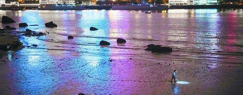 在皓月园附近沙滩上,有人趁着落潮下到沙滩捡贝蛤,身后留下长长的脚印。
