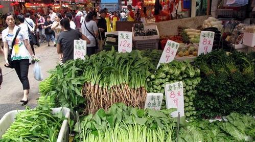 资料图:香港湾仔一街市蔬菜供应琳琅满目