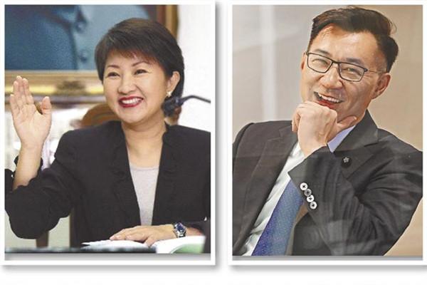 """国民党""""立委""""卢秀燕(左)与江启臣(右)。(图片来源:台湾《中国时报》)"""