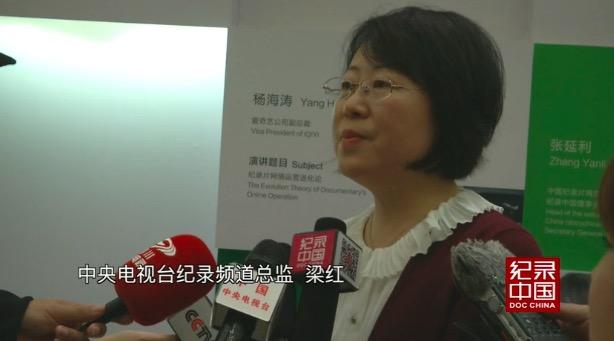 中央电视台纪录频道总监梁红接受采访