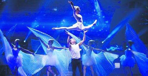 """""""海之诗""""音乐晚会肩上芭蕾《白鹭蹁跹》。"""