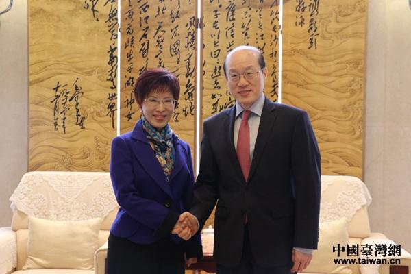 刘结一会见中国国民党前主席洪秀柱。(中国台湾网 李宁 摄)